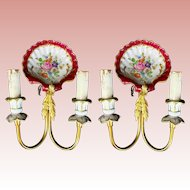 PAIR Antique Brass and Hand painted Porcelain Wall Sconces #1