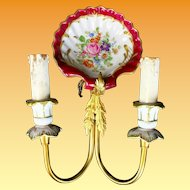 PAIR Antique Brass and Hand painted Porcelain Wall Sconces #2