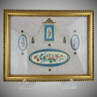 Antique Framed Putti and Flowers Severs Style Plaques…Four Plaques