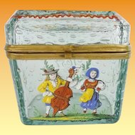 """Antique Bohemian """"Controlled Bubbles"""" Casket Hinged Box ~Green Case Glass with Hand Enamel Figures."""