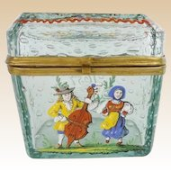 "Antique Bohemian ""Controlled Bubbles"" Casket Hinged Box"