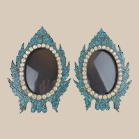 """Antique French Jeweled Turquoise Table Frames """"BEAUTIFUL TABLE TOP FRAMES """""""