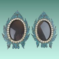 "Antique French Jeweled Turquoise Table Frames ""BEAUTIFUL TABLE TOP "" ~ Turquoise Micro Mosaics Frames Circle in Divine French Paste Gems"