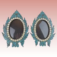 "Antique French Jeweled Turquoise Table Frames ""BEAUTIFUL TABLE TOP """