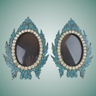 """Antique French Jeweled Turquoise Table Frames """"BEAUTIFUL TABLE TOP """" ~ Turquoise Micro Mosaics Frames Circle in Divine French Paste Gems"""