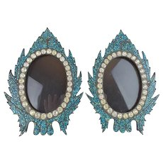 """Antique French Jeweled Turquoise Table Frames """"BEAUTIFUL TABLE TOP """""""