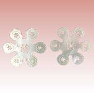 "Palais Royal  Mother of Pearl Thread Winder ""SNOW FLAKE"" PAIR"