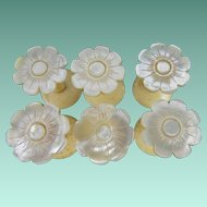 "SIX Antique Mother of Pearl  Thread Spools "" A RARE & WONDERFUL SET"""