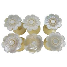 """SIX Antique Mother of Pearl  Thread Spools """" A RARE & WONDERFUL SET"""""""