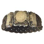 Beautiful  9KARAT 1840 Mourning  Hair Locket Bracelet Engraved L. A. Mitchell