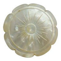 Antique Carved Mother of Pearl Spool Thread  Holder ~ Beautiful Mother of Pearl Spool Holder