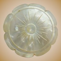 Antique Carved Mother of Pearl Spool Thread  Holder. Mother of Pearl Spool Holder.
