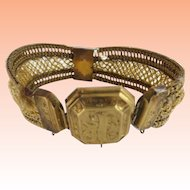Antique Pinchbeck Mourning Woven Hair Bracelet…WITH  DAMAGE  As is!