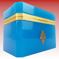 "Exquisite Antique Blue Opaline Hinged Box ""Ornate Gilt Mounts & Lift Clasp""  AWESOME BLUE"