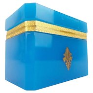 """Exquisite Antique Blue Opaline Hinged Box """"Ornate Gilt Mounts & Lift Clasp""""  AWESOME BLUE"""