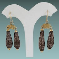 "Antique  Pinchbeck  Mourning Woven  Hair Earrings  ""Pretty Engraved Mounts"""