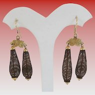 """Antique  Pinchbeck  Mourning Woven  Hair Earrings  """"Pretty Engraved Mounts"""""""