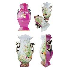 """Antique Porcelain """"Old Paris"""" Vases """" ROSES & FLOWERS"""