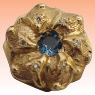14KARAT Blue Topaz & Diamond Slide For Add A Slide Bracelet