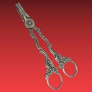 Very Fine Antique Silver Grape Scissors