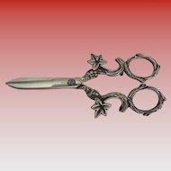 Magnificent Antique  Ornate Silver Grape Scissors