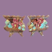 Pair Antique French Barbotine Planters Cachepots