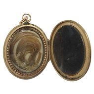 "BIG Victorian Engraved 10KARAT Hair Locket ""BLOND HAIR"""