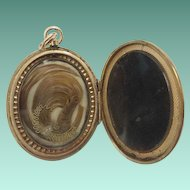 """19C Engraved 10KARAT Hair Locket """"BLOND HAIR"""" ~ Beautiful Hair Arrangement on One Side and the Other Available for a Photo."""