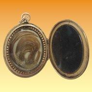 "BIG Victorian Engraved 10KARAT Hair Locket ""BLOND HAIR"""