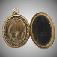 "19C Engraved 10KARAT Hair Locket ""BLOND HAIR"" ~ Beautiful Hair Arrangement on One Side and the Other Available for a Photo."