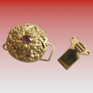 14KARAT Amethyst  Flower  Clasp For Add A Slide Bracelet