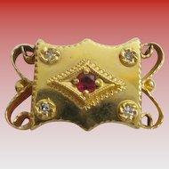 Big 14KARAT Diamond &  Garnet  Slide  For Add A Slide Bracelet