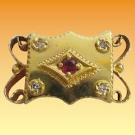 Big 14KARAT Diamond &  Garnet  Slide  For Add A Slide Bracelet
