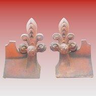 """Pair Antique French Fleur de lis Roof Tiles """"MAJESTY """""""