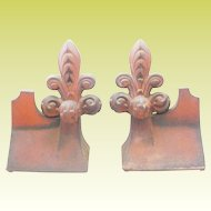 "Pair Antique French Fleur de lis Roof Tiles ""MAJESTY """