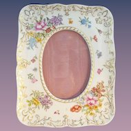 """Antique French Porcelain Handpainted Easel Back Frame """"AWESOME FLOWERS & GILDING"""""""""""