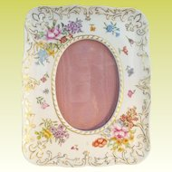 "Antique French Porcelain Handpainted Easel Back Frame ""AWESOME FLOWERS & GILDING"""""
