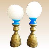 "Fabulous PAIR Antique French Blue & White Opaline Finial ""ORNATE BRONZE BASE"""