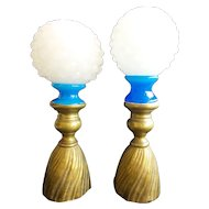 "Fabulous PAIR Antique French Blue & White Opaline Finial ""ORNATE BRONZE BASE"""