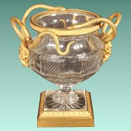 "Antique French Crystal and Dore' Bronze Footed Bowl ""SNAKES & MASK"""