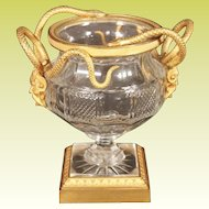 """Antique French Crystal and Dore' Bronze Footed Bowl """"SNAKES & MASK"""""""