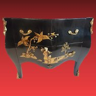 Vintage Estate Miniature Chinoiserie Marble Top Chest  ~ A Charming Little Chinoiserie Chest