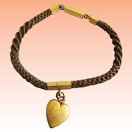 """Antique Pinchbeck Mourning Hair  7 ¼"""" Bracelet HEART PENDANT  Monogrammed """"L"""" on one side & """"B"""" on the other side."""