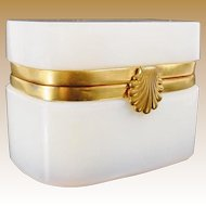 "Magnificent Antique French Bulle de Savon Opaline Casket Hinged Box ""EXQUISITE SHELL CLASP"