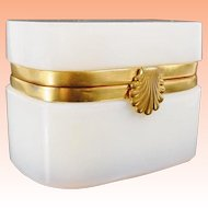 "Magnificent Antique French Bulle de Savon Opaline Casket Hinged Box ""EXQUISITE SHELL CLASP"