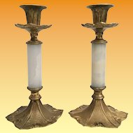 "Antique French 10"" Marble Bronze Candelabra Pair   ""BEAUTIFUL"""