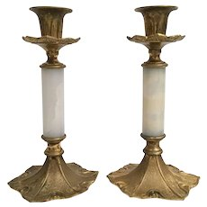 """Antique French 10"""" Marble Bronze Candelabra Pair   """"BEAUTIFUL"""""""