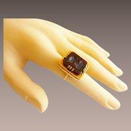 Antique 14KARAT Yellow Gold Carnelian,Onyx, &  Agate  LOCKET PHOTO RING