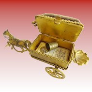 """Antique  French Etui Necessaire Hinged Box """"Figural Horse Carriage"""""""