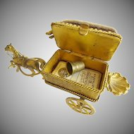 "Antique  French Etui Necessaire Hinged Box ""Figural Horse Carriage"""